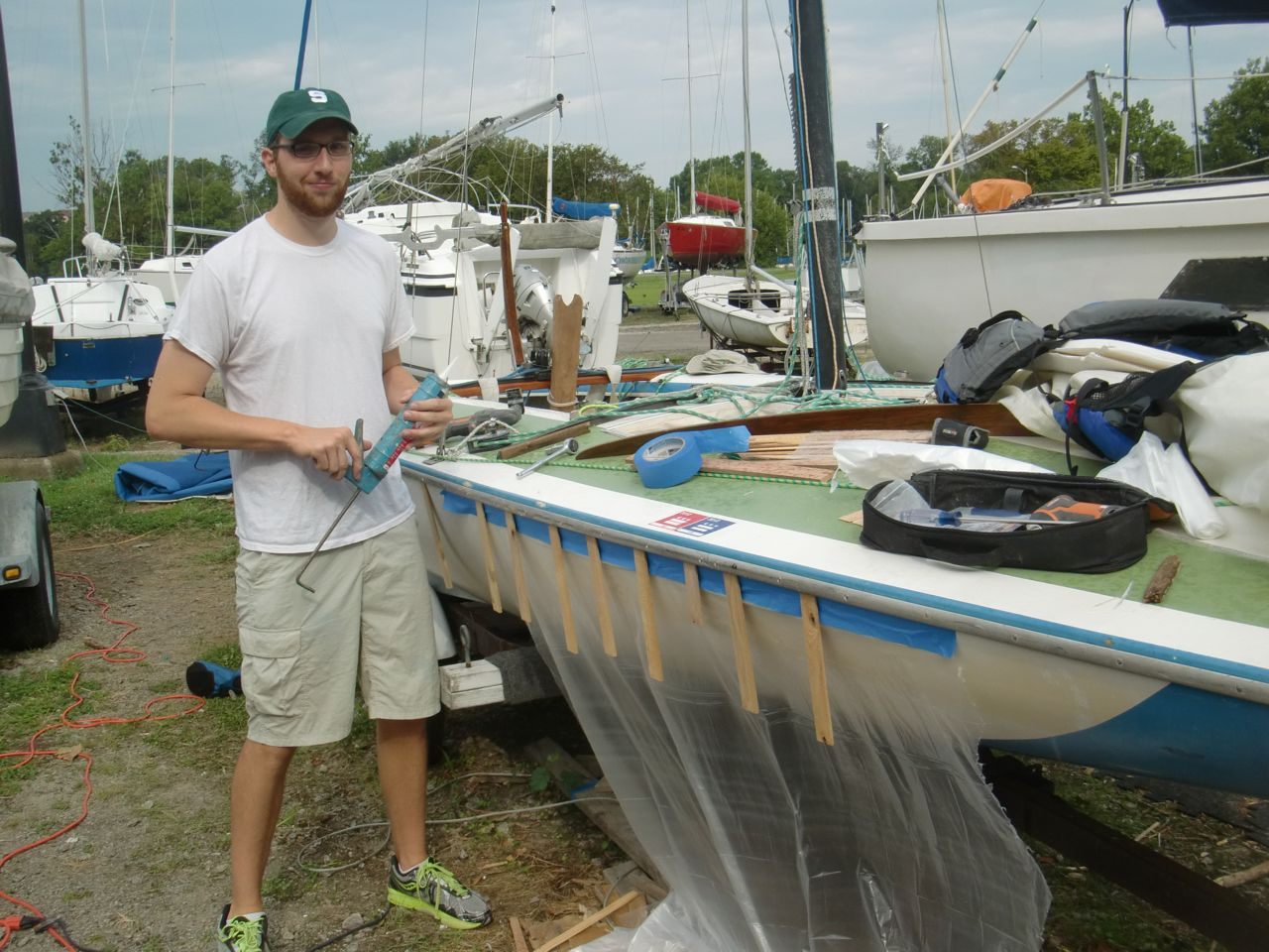 Plastic protects hull from stray caulking